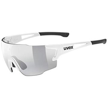 uvex Unisex– Erwachsene, sportstyle 804 V Sportbrille, selbsttönend, white/smoke, one size - 1