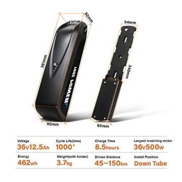 YOSE POWER E-Bike Batterie 36V 12.5Ah Hailong Fahrradakku Unterrohr für Mifa Vaun Prophete Schwarz - 2