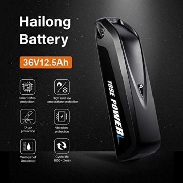 YOSE POWER E-Bike Batterie 36V 12.5Ah Hailong Fahrradakku Unterrohr für Mifa Vaun Prophete Schwarz - 6